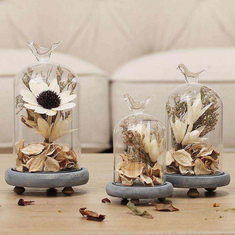 北欧小清新干花设美式创意玻璃罩