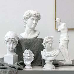 新款北欧现代石膏像素描人物像雕塑摆件设办公室样板间装饰品大卫