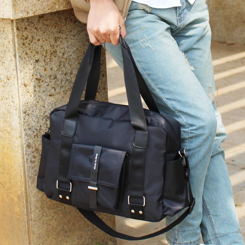尼龙韩版男包包商务休闲手拎行李包男士旅行包手提单肩斜挎包图片