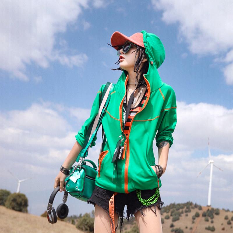Ccqueen外套女2020新款潮流夏装韩版连帽防晒衣服学生ins纯色夹克图片