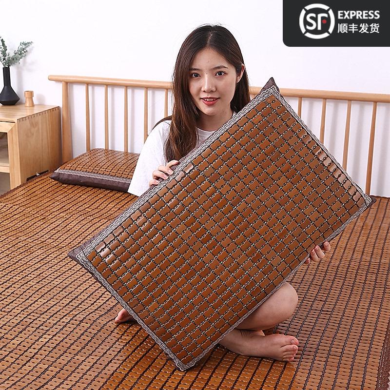 夏季麻将凉席枕套宿舍单人双人夏天竹席枕头套子成人儿童床头靠垫32.8元