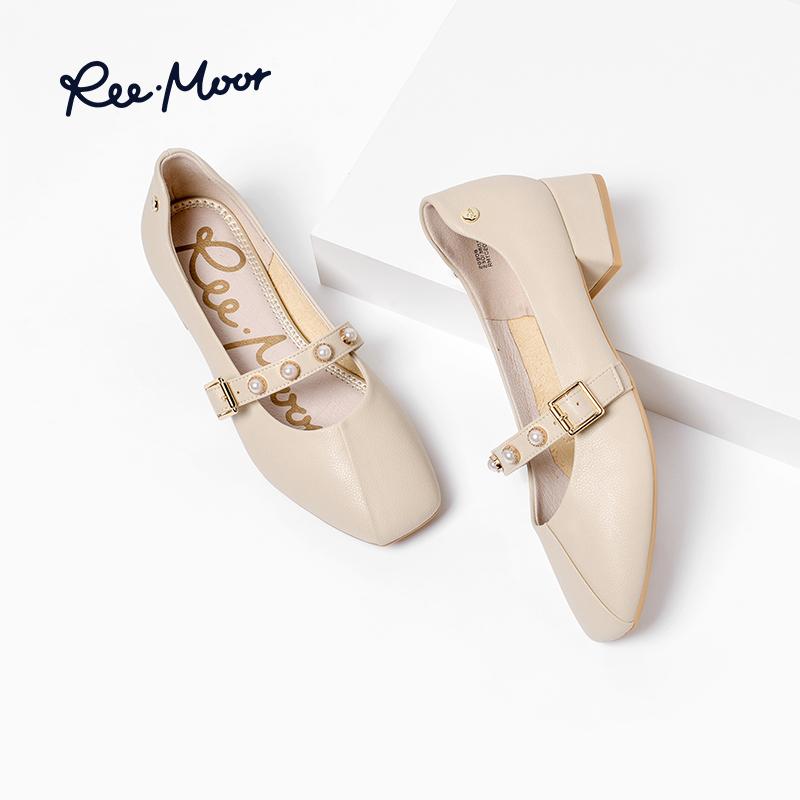 REEMOOR粗跟单鞋女新款一字扣玛丽珍鞋子复古秋季平底鞋睿慕女鞋