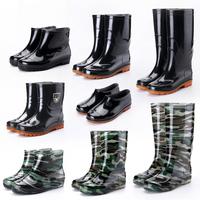 四季中高筒雨鞋男士耐磨工作水靴短筒套鞋低帮牛筋底防滑塑胶鞋夏