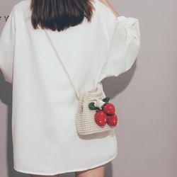 手工编织包包女2020新款潮可爱百搭斜挎包ins学生森系文艺水桶包