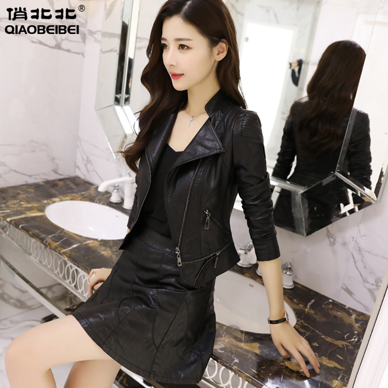 South Korea's versatile high waisted stand collar leather coat women's short slim locomotive leather jacket in spring 2020