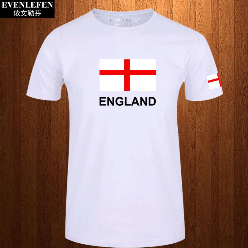 英格兰队T恤短袖男女体育运动足球衣服休闲旅游半截袖衫纯棉体恤
