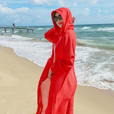 防晒衣女长袖过膝透气中长款2020新款薄款宽松沙滩衫夏季外搭雪纺