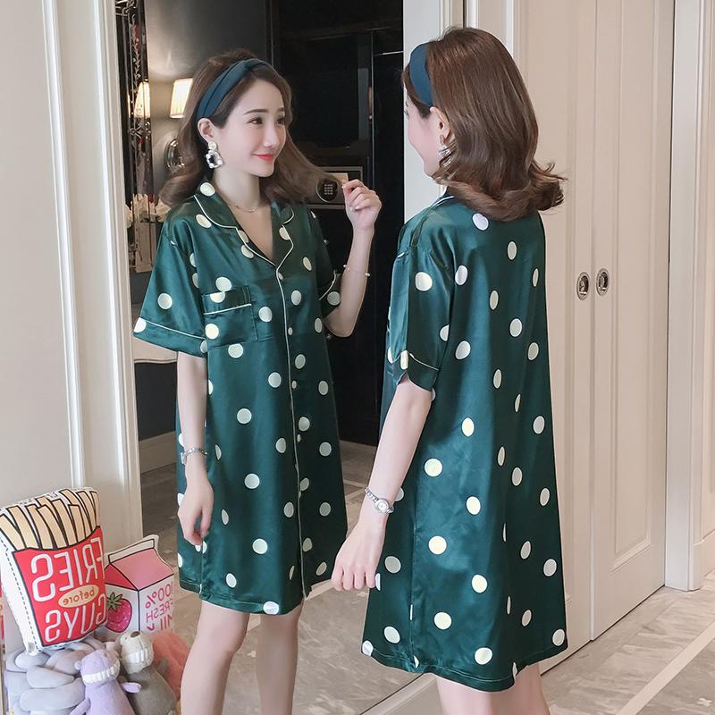 夏季冰丝绸短袖性感圆点衬衫睡裙10月30日最新优惠