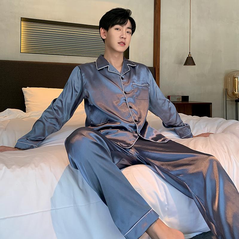 春秋男士睡衣2021新款长袖薄款冰丝夏季青少年家居服丝绸套装大码