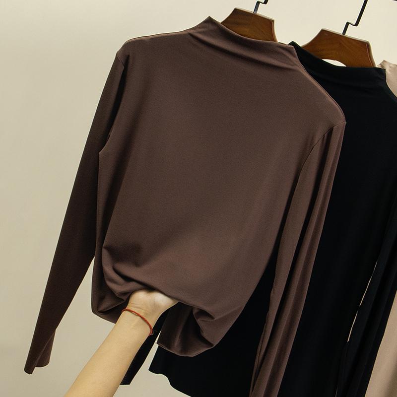 莫代尔半高领打底衫女长袖t恤2020新款秋冬百搭内搭黑色薄款上衣