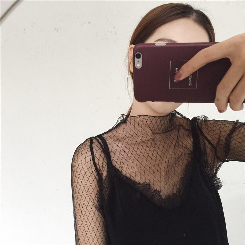 蕾丝打底衫女长袖网纱大码黑色薄款镂空高领毛衣内搭透视纱网上衣