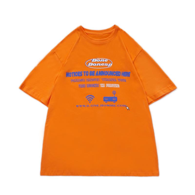 FUNKYFUN胡宇桐同款橙色短袖T恤港风街头潮人宽松字母印花T情侣装
