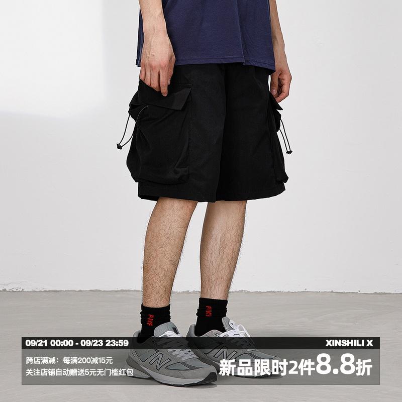 FUNKYFUN多口袋抽绳工装短裤男女宽松嘻哈运动bf休闲裤潮流五分裤