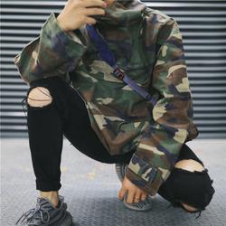 欧美高街刀割破洞牛仔裤男黑色复古弹力修身小脚乞丐裤破烂休闲裤