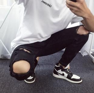 休闲小脚修身 男长裤 破洞牛仔裤 中国有嘻哈TT潮牌复古男士 青年裤 子