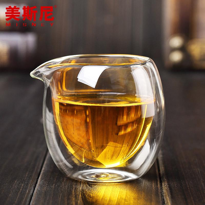 美斯尼 雙層玻璃茶海 玻璃茶具分茶器 200ML 玻璃公道杯茶具
