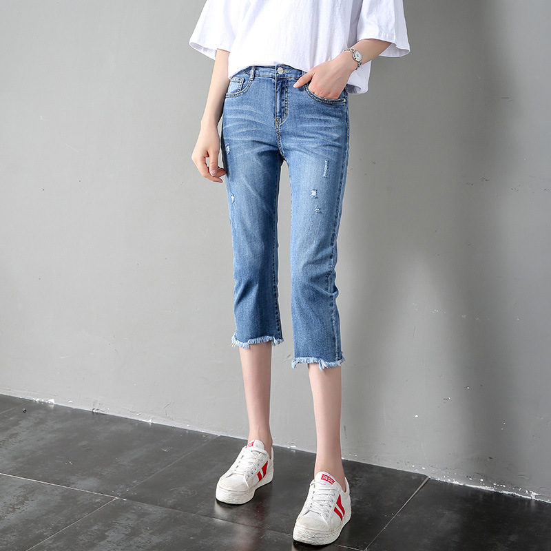 Capris womens thin summer 2019 new high waisted Korean version of slim and versatile small broken hole straight jeans