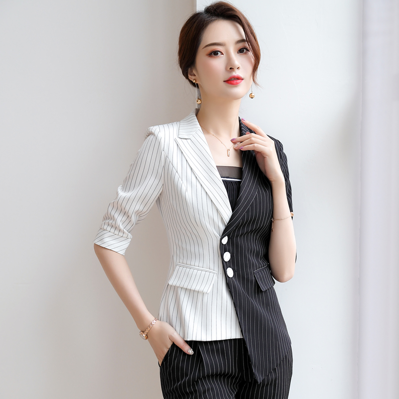 2020 new womens spring clothing color contrast stripe Blazer casual coat fashion thin high-end versatile top tooling