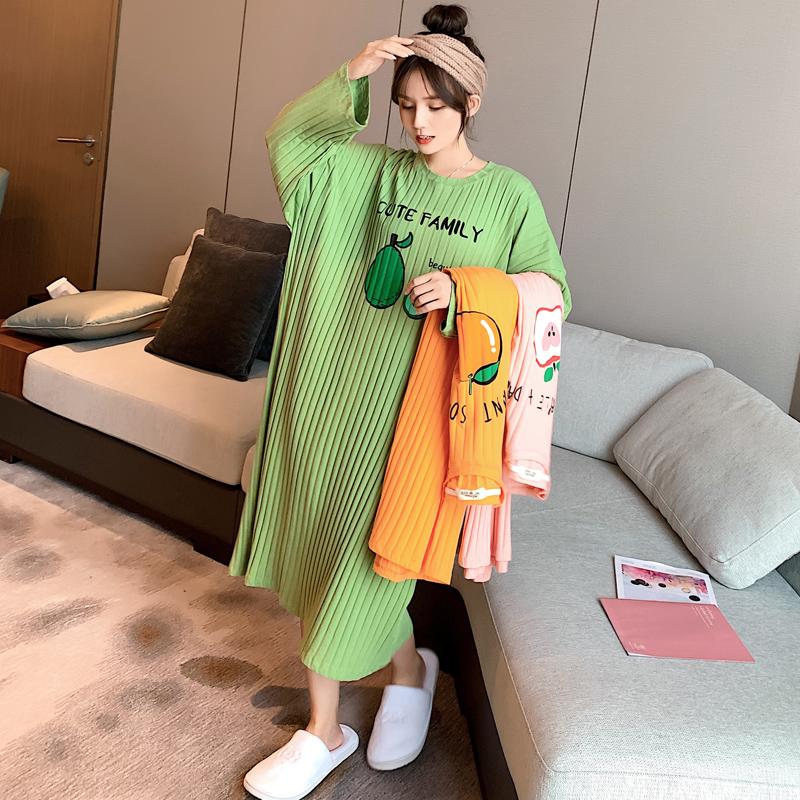 水果睡裙女春秋冬长裙可爱纯棉睡衣(用75元券)
