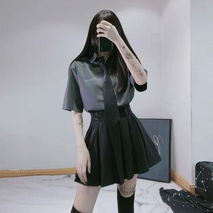 女短袖 日系宽松学生学院风复古盐系女jk衬衫 灰色领带衬衫 女衬衣夏