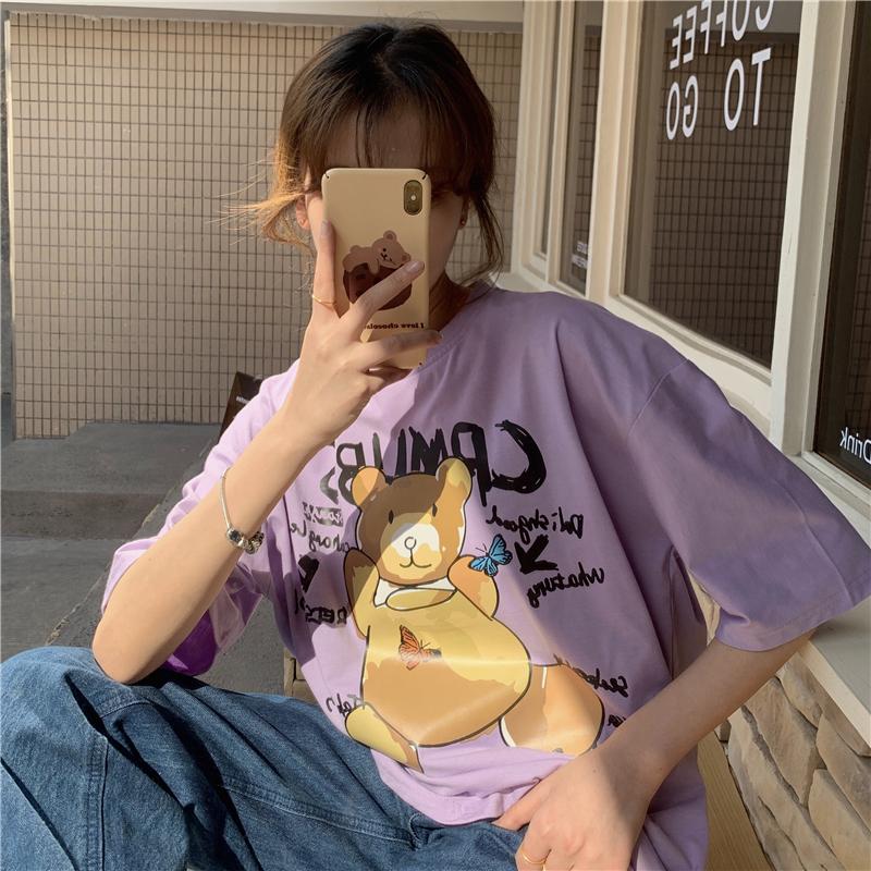 实拍原创6535棉2021夏季新款短袖T恤女韩版中长款半袖女上衣ins潮