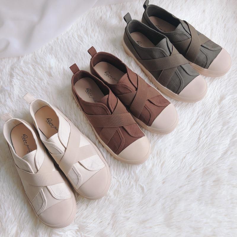 韩国人气款~圆头帆布拼接设计韩版休闲懒人运动板鞋复古港味女鞋