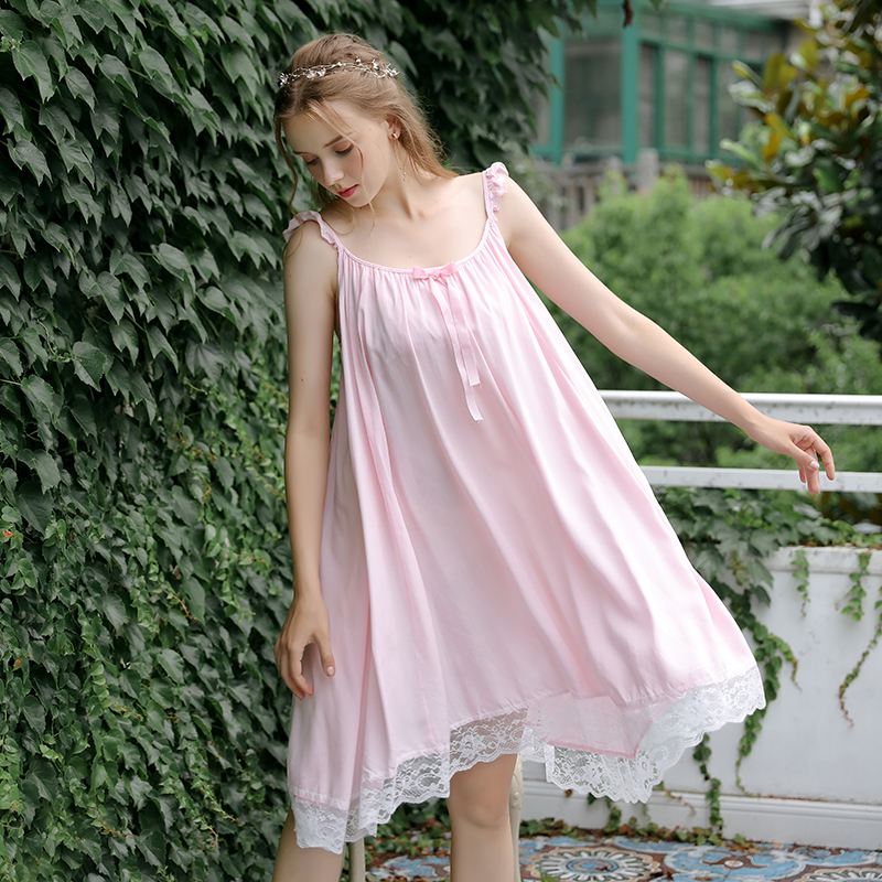 Summer artificial cotton suspender Pajama skirt sexy off shoulder fashion cool and breathable Lovely Japanese girl princess style