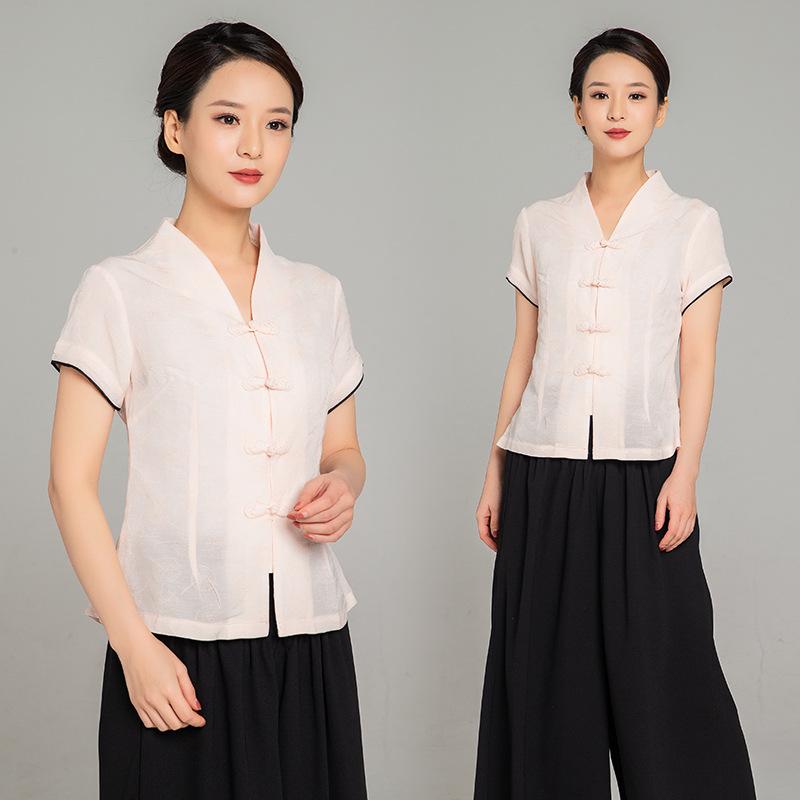 2019夏季新款女装 女士麻短袖对领琵琶扣古装中国复古风套装,可领取元淘宝优惠券