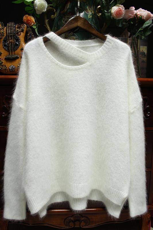 Южная корея осень/зима издание новой потерять толстый норки плюшевые свитер девушка головы студента без бретелек норка меха вязать свитер топ