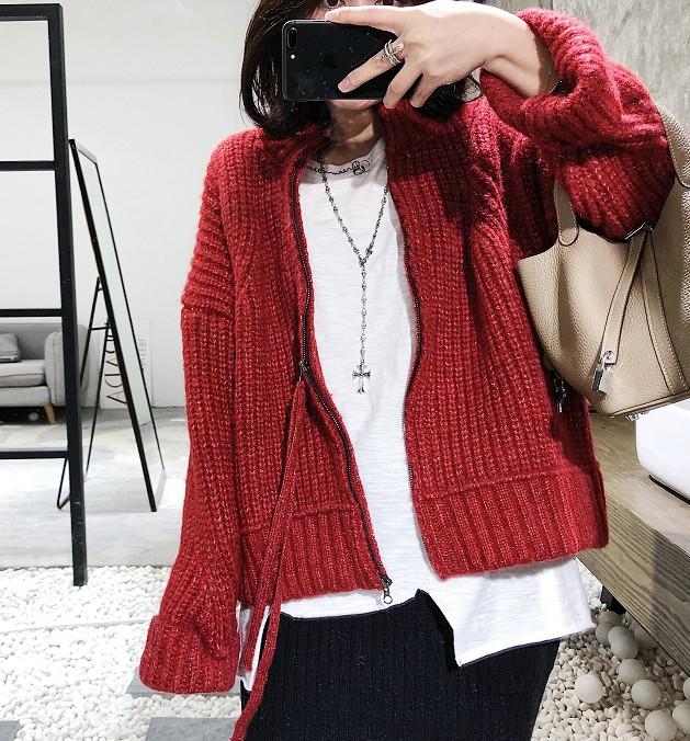 粗线拉链毛衣外套女韩版2018新款矮个子学生加厚短款网红针织开衫