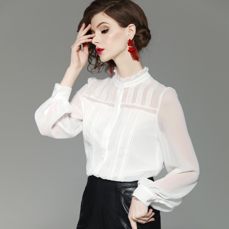 雪纺衫女2019秋装新款立领灯笼长袖白色衬衣蕾丝打底衬衫显瘦上衣有赠品