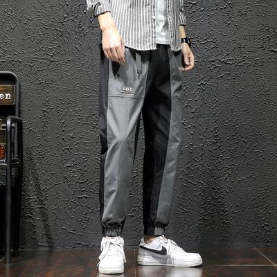 2020 春季新款 日系黑墙大码撞色运动九分裤M-5X HK20077-P35