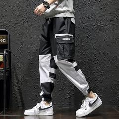 2020 春季新款 日系黑墙大码撞色工装休闲裤M-5X HK20076-P70