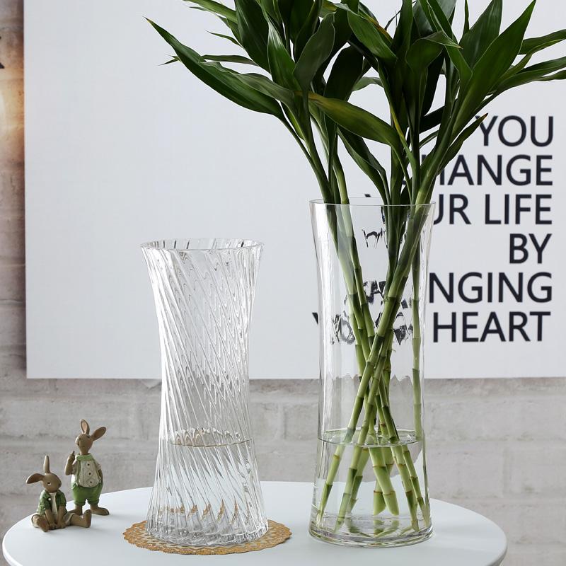 透明玻璃花瓶束腰创意富贵竹花瓶