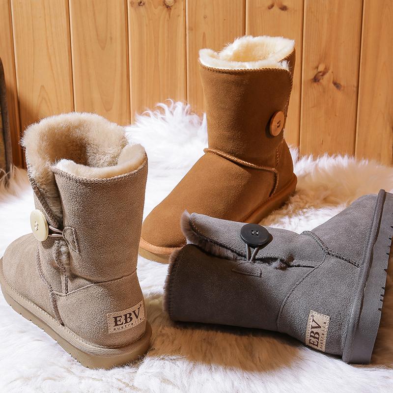 2020年冬季新款真皮雪地靴女中筒皮毛一体牛皮学生百搭时尚面包鞋