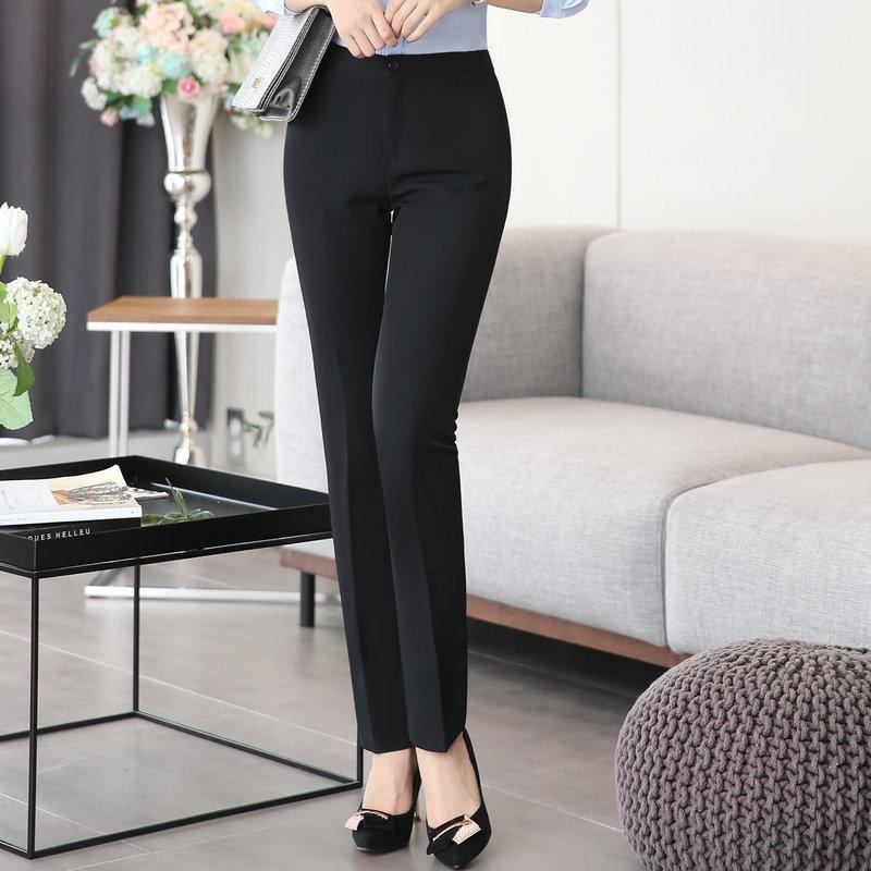 韩版春秋时尚休闲商务西装西裤黑色 女式职业工作正装修身长裤子
