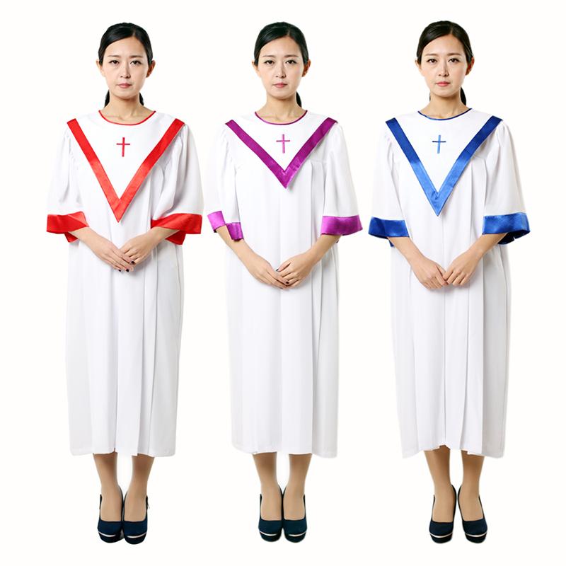基督耶稣教服装夏季新款唱诗班服圣衣短袖教会圣诗袍圣服圣诗服饰