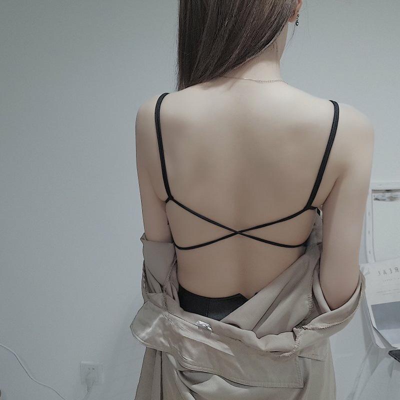 夏季性感蕾丝交叉美背小吊带背心裹胸文胸聚拢带胸垫抹胸内衣薄款