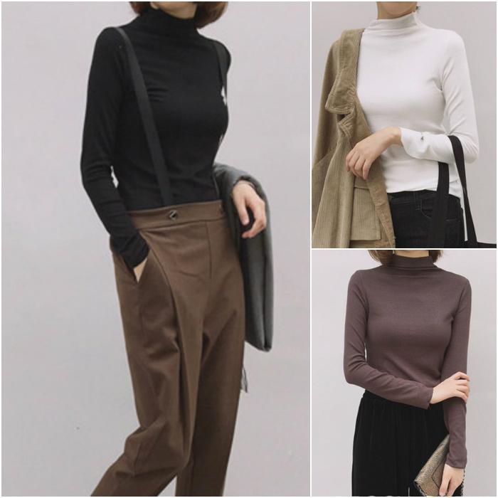 秋季纯色半高领紧身针织衫女套头薄款修身打底衫百搭长袖T恤上衣