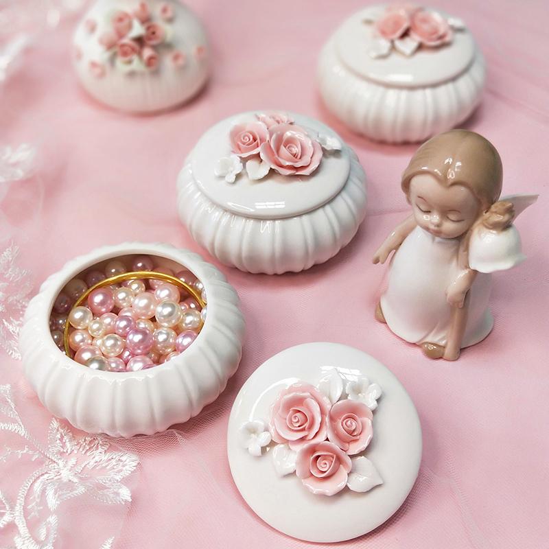 首饰盒陶瓷可爱公主高档欧式vintage精致简约美容院用饰品收纳盒