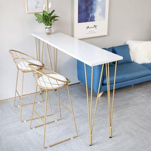 简约实木吧台桌家用小吧台阳台靠墙吧台大理石高脚桌酒吧台长条桌