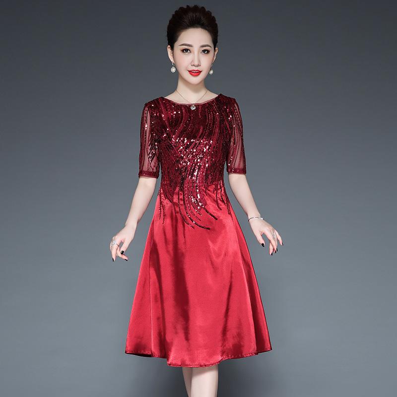 嫁女儿妈妈丈母娘婚礼服喜婆婆婚宴装结婚母亲洋气高贵连衣裙夏装