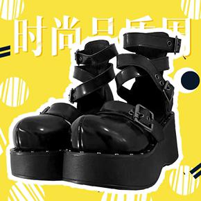 暗黑新款2020年朋克圆头厚底大头鞋金属萝莉少女凉鞋摇滚
