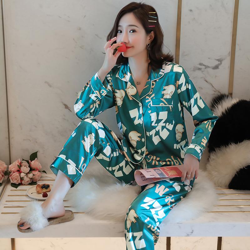 韩版长袖冰丝睡衣女春秋宽松薄款仿真丝绸学生开衫家居服两件套装
