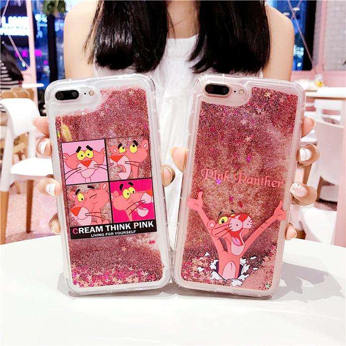 韩国可爱粉红豹 苹果X手机壳iPhone7plus/8/6/6s闪粉流沙卡通女款8plus硅胶套iPhoneX液体7p顽皮豹8x创意软壳