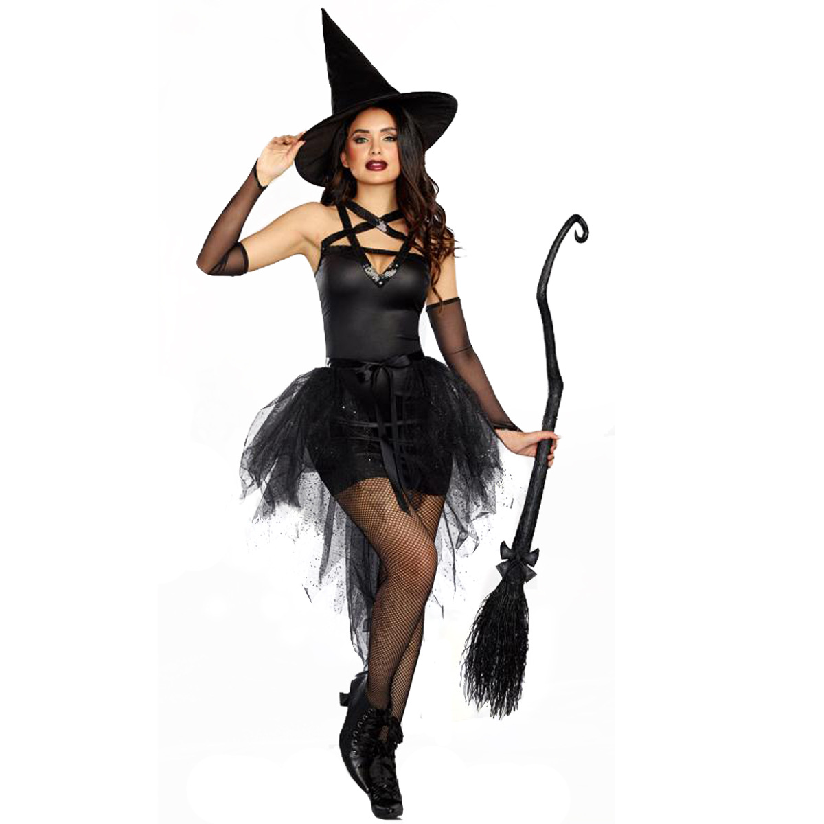 Halloween Costume Elastic Black Classic witch adult role playing Costume Witch Costume stage dress