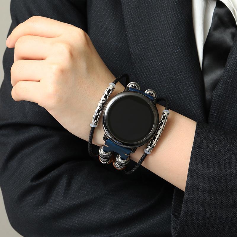 s3华为watch gt真皮pro2复古amazfit4手表带Ticwatch1荣耀magic三星46华米/gtr47mm42gts小米color机械表oppo