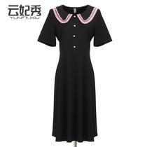 2020春夏新款大码女装连衣裙时尚纽扣娃娃领显瘦中长款长袖连衣裙