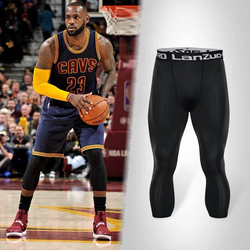 篮球防护七分裤詹姆斯运动裤袜白色紧身护膝护具装备丝袜男专业夏