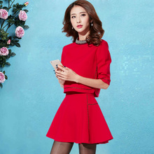 2019 spring and autumn foreign style Korean version fashion small fragrance temperament versatile dress slim show thin suit two piece set female